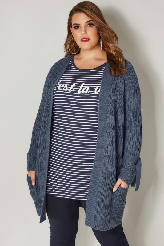 Blue Knitted Cardigan With Tie Sleeves