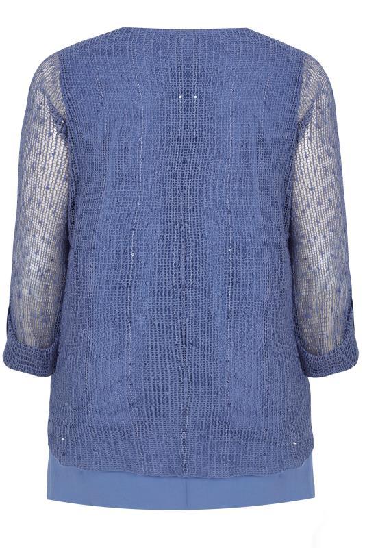 Blue Layered Crochet Top