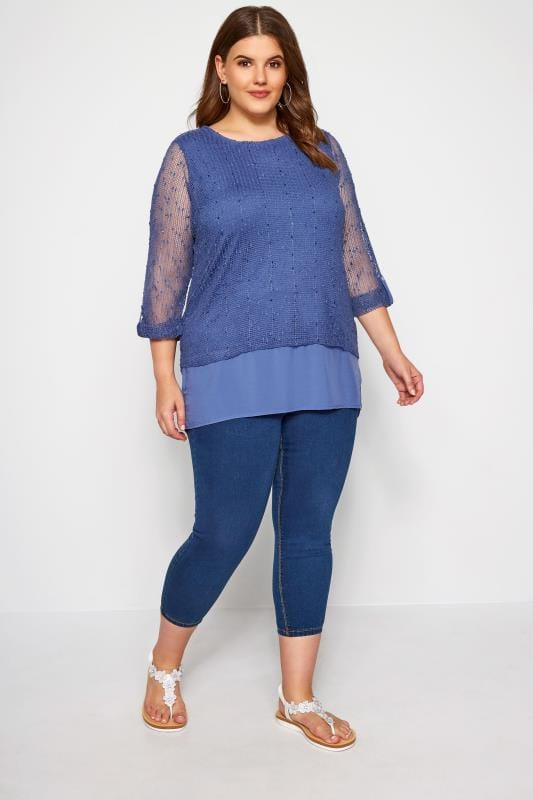 Blue Layered Crochet Top