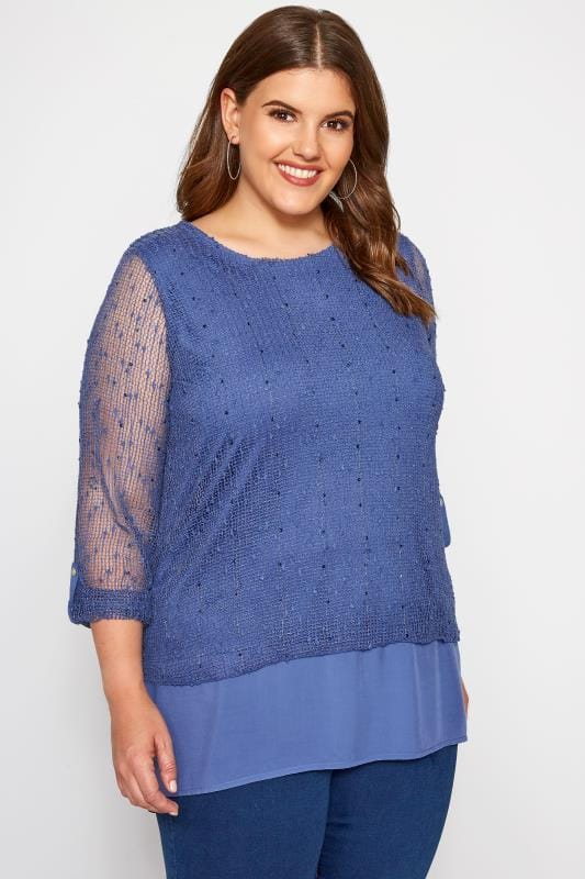 Plus Size Day Tops Blue Layered Crochet Top