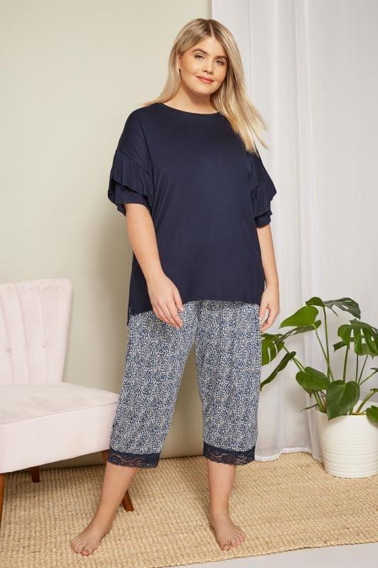 Blue Leopard Cropped Loungewear Bottoms