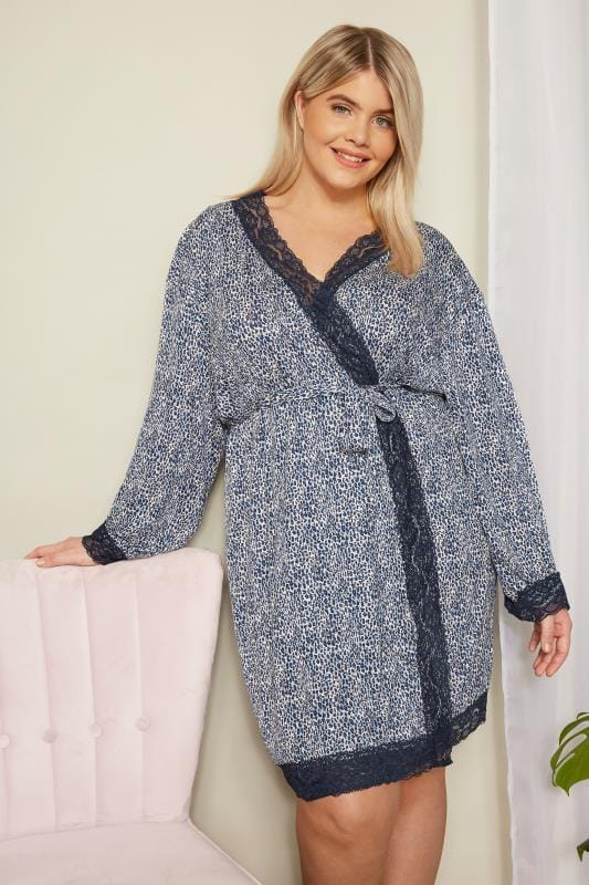Plus Size Loungewear Blue Leopard Print Lace Loungewear Robe