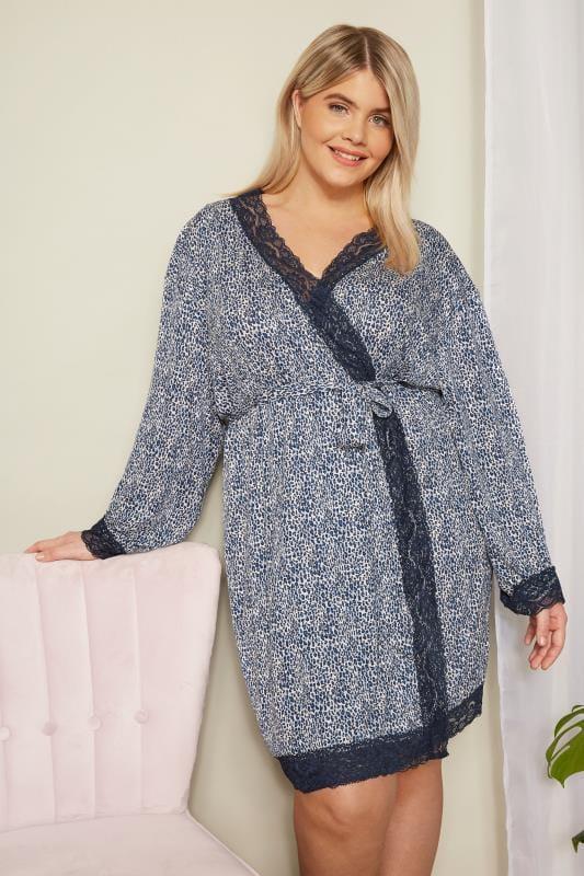 Blue Leopard Print Lace Loungewear Robe