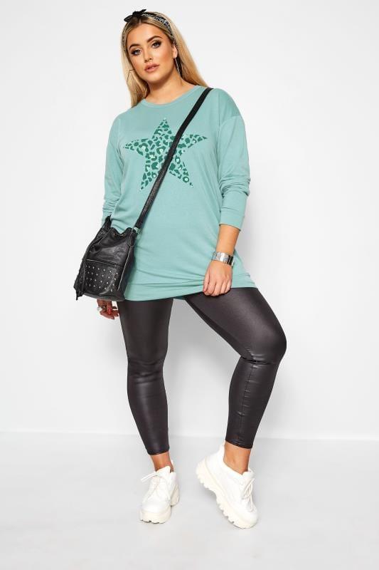 Sweatshirt mit Stern im Leoparden-Muster - Hell-Türkis