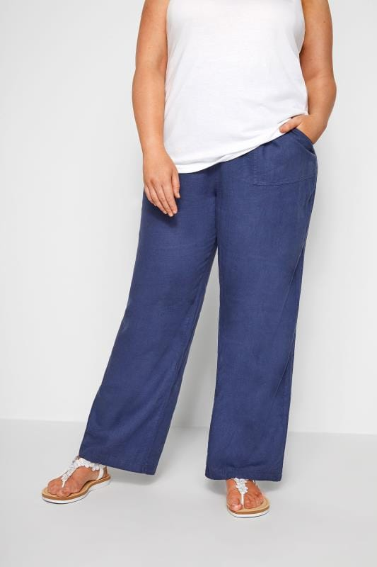 Plus Size Linen Mix Pants Blue Linen Mix Pull On Wide Leg Trousers