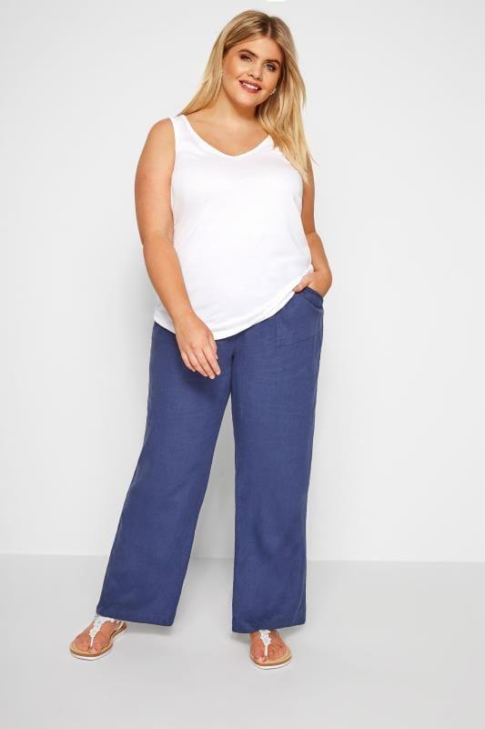 Blaue Pull-On Leinenhose mit weitem Bein