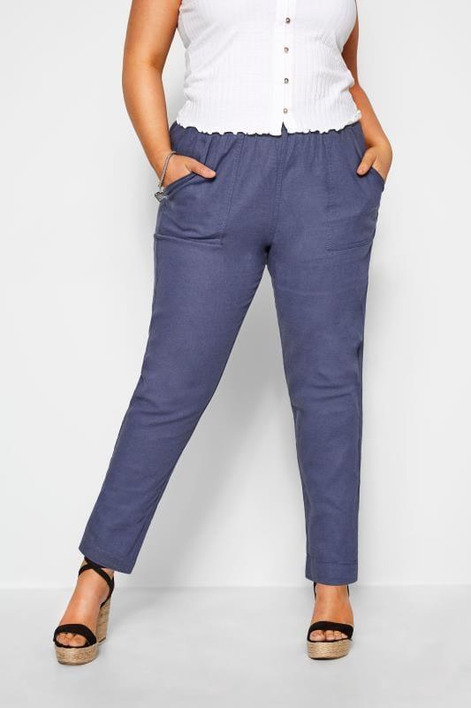 Plus-Größen Linen Mix Trousers Blue Linen Tapered Trousers