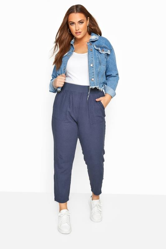 Plus Size Linen Mix Trousers Blue Linen Tapered Trousers