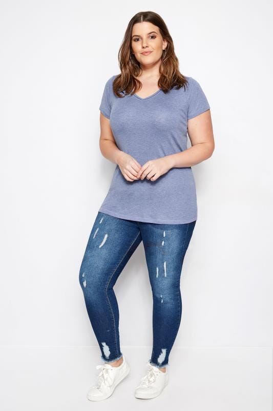 Blue Marl Basic V-Neck T-Shirt