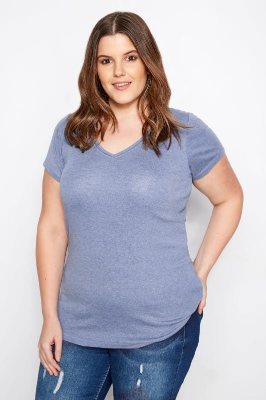 Plus Size T-Shirts Blue Marl Basic V-Neck T-Shirt