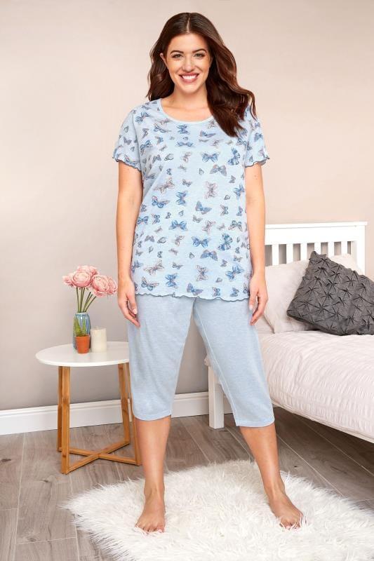 Plus Size Pyjamas Blue Marl Butterfly Print Cropped Pyjama Set