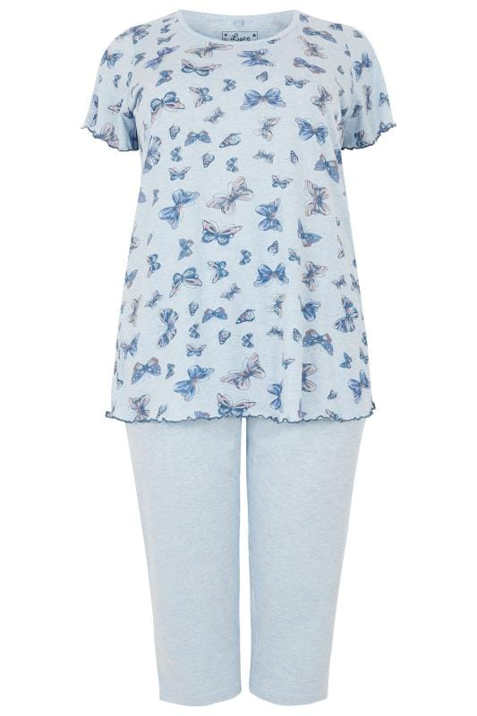 Blue Marl Butterfly Print Cropped Pyjama Set