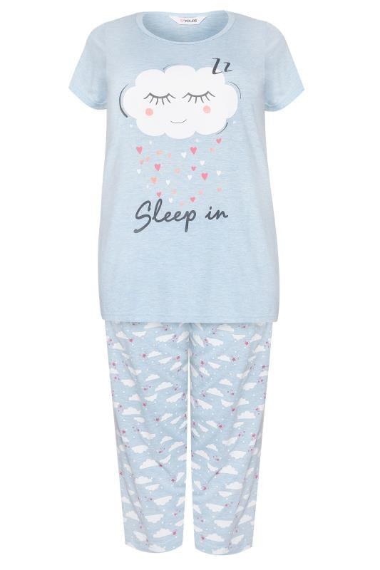 Blue Cloud Print Cropped Pyjama Set