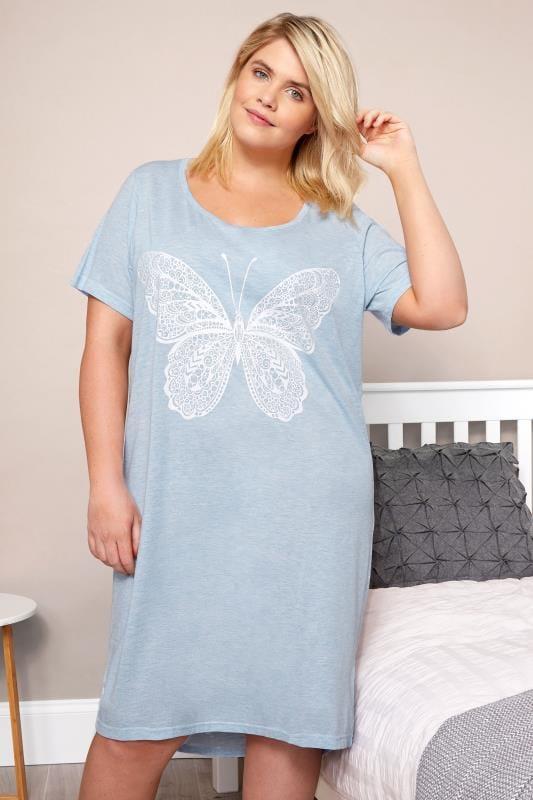 Blue Marl Glitter Butterfly Nightdress