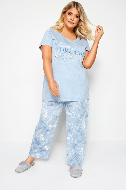 Plus Size Pajamas Blue Marl Glitter Sweet Dreams Pyjama Set