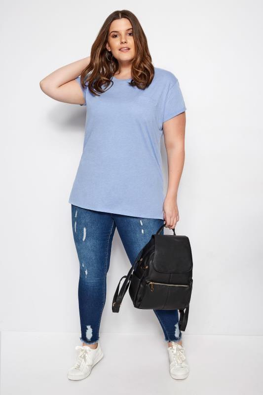 Blue Marl Mock Pocket T-Shirt
