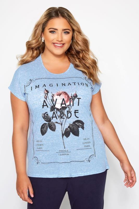 Blue Marl Rose Slogan T-Shirt