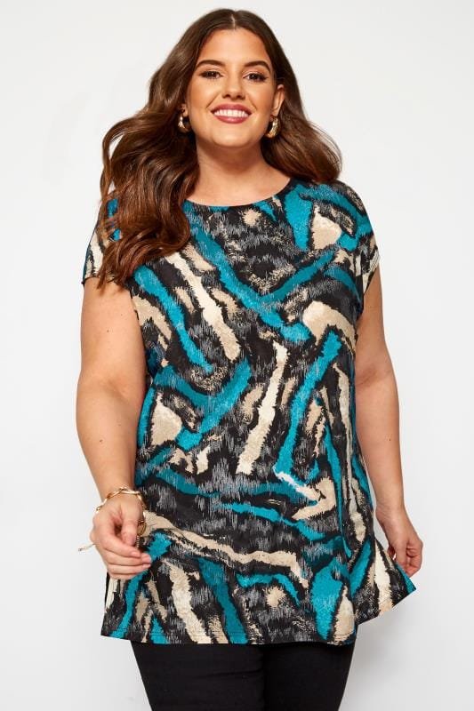 Plus Size Jersey Tops Blue Metallic Tiger Print Top