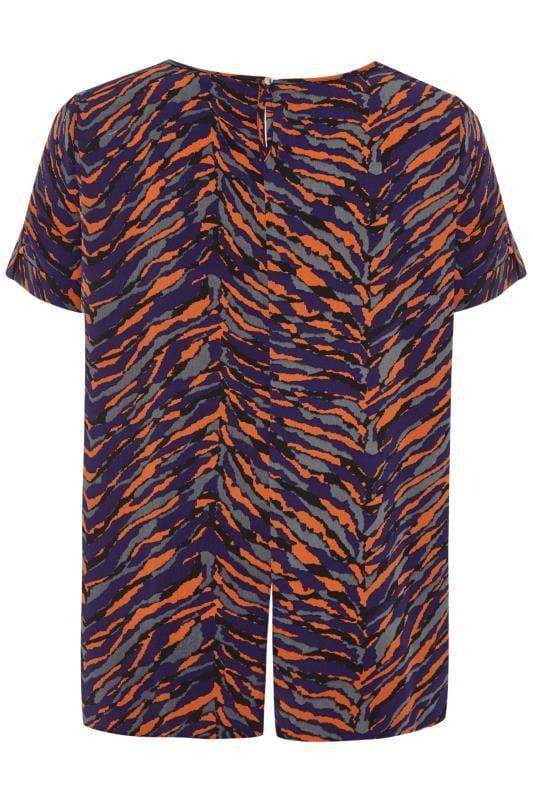 Blue & Orange Zebra Print Top