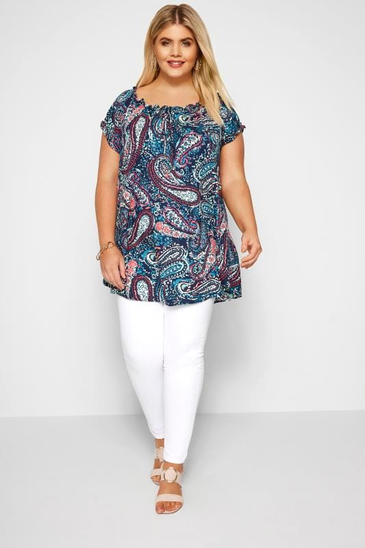 Blue Paisley Gypsy Top