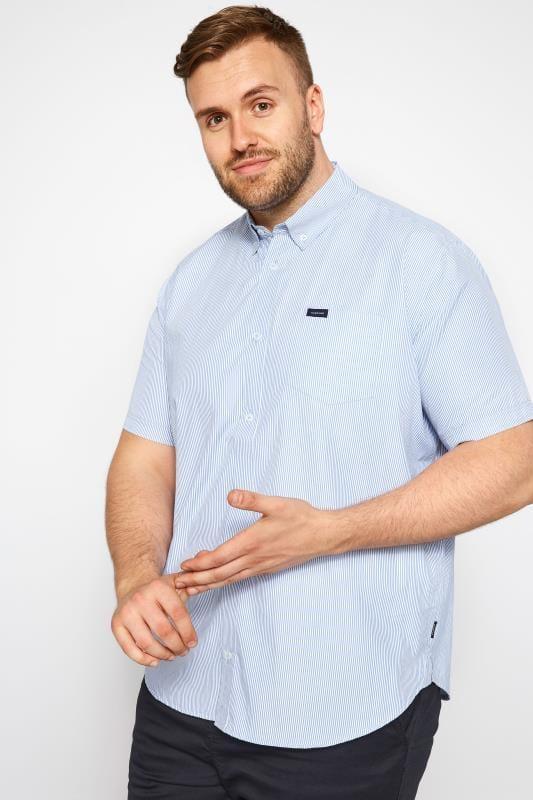 Casual Shirts BadRhino Blue Pinstripe Short Sleeve Shirt 201164