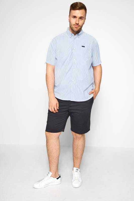 BadRhino Blue Pinstripe Short Sleeve Shirt