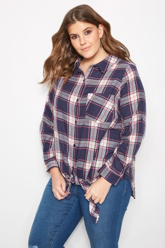Blue & Pink Checked Knot Shirt
