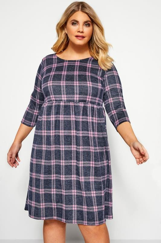 Plus Size Casual Dresses Blue & Pink Jacquard Check Smock Dress