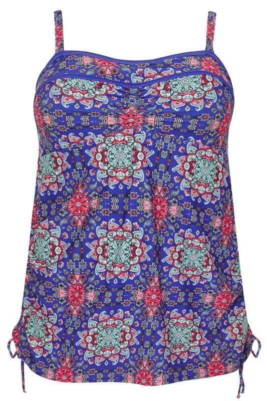 Blue & Pink Mandala Print Mesh Mock Tankini Swimsuit