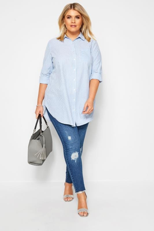 Plus Size Shirts Blue Pinstripe Shirt