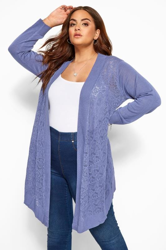 Plus Size Cardigans Blue Pointelle Waterfall Cardigan