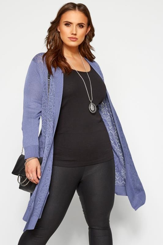 Plus Size Knitted Cardigans Blue Pointelle Waterfall Cardigan