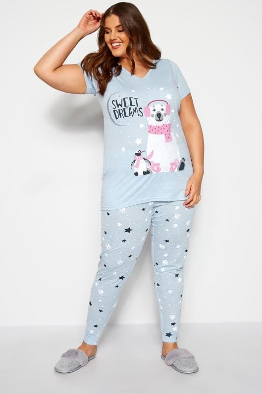 Plus Size Pyjamas Blue Polar Bear Pyjama Set