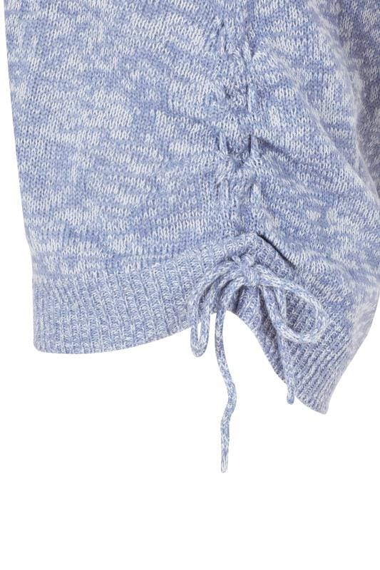 Blue Ruched Hem Lace Jumper