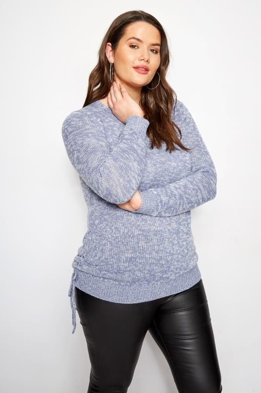 Plus Size Sweaters Blue Ruched Hem Lace Jumper