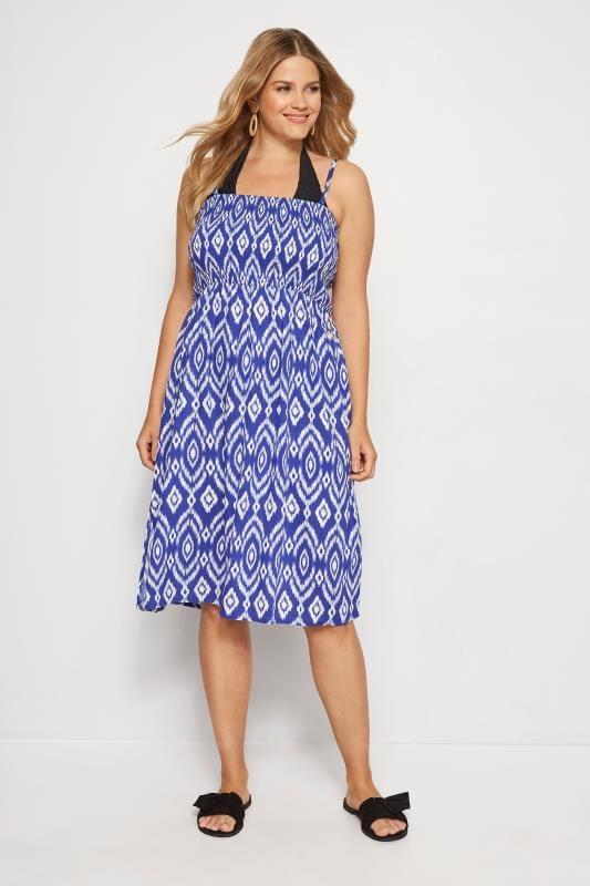 Blue Shirred Multiway Dress
