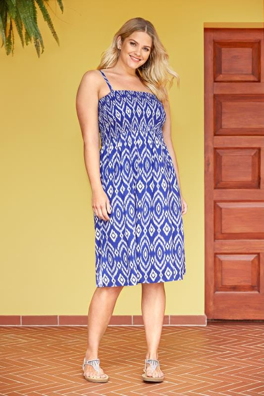 Plus Size Kaftans & Cover Ups Blue Shirred Multiway Dress