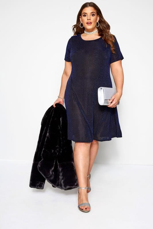 Blue Sparkle Swing Dress