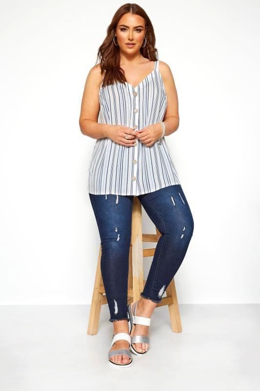 Blue Stripe Button Front Cami