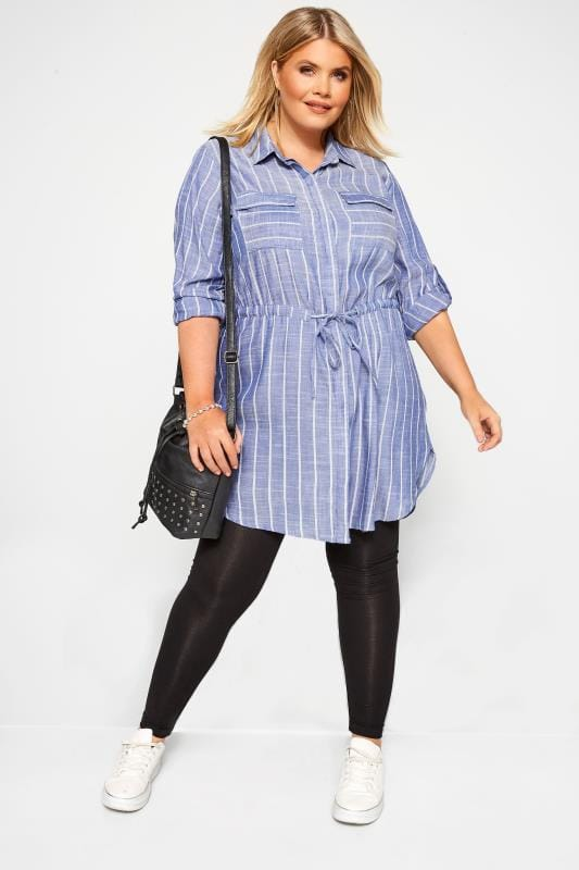 Plus Size Tunics Blue Stripe Drawstring Waist Tunic