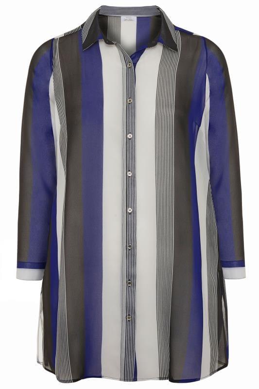 YOURS LONDON Streifen-Hemd - Blau/Schwarz