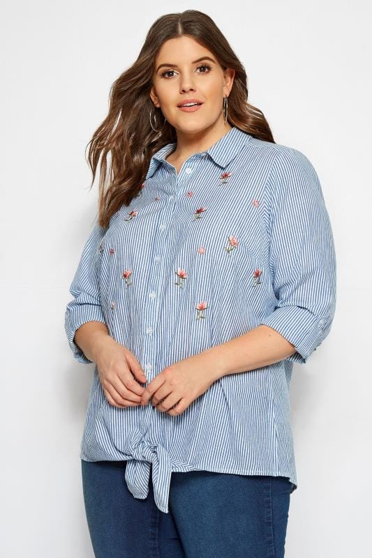 Plus Size Shirts Blue Stripe Tie Front Embroidered Shirt