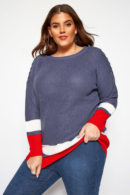 Plus Size Jumpers Blue Stripe Trims Knitted Jumper