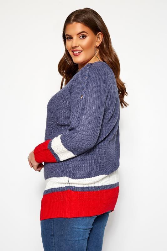 Blue Stripe Trims Knitted Jumper