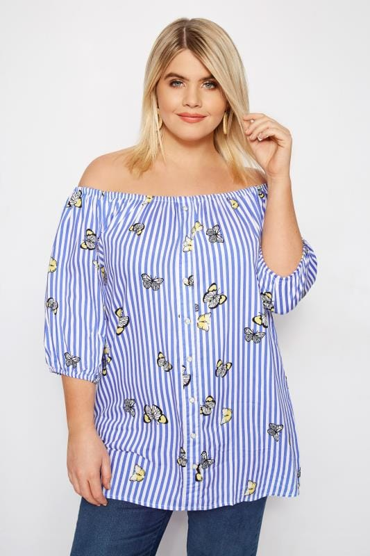 Plus Size Bardot & Cold Shoulder Tops Blue Striped Butterfly Bardot Top