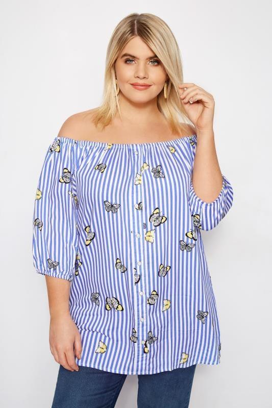 Blue Striped Butterfly Bardot Top