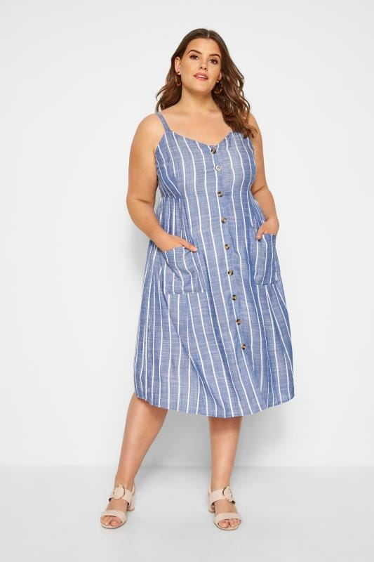 Plus Size Casual Dresses Blue Striped Dress