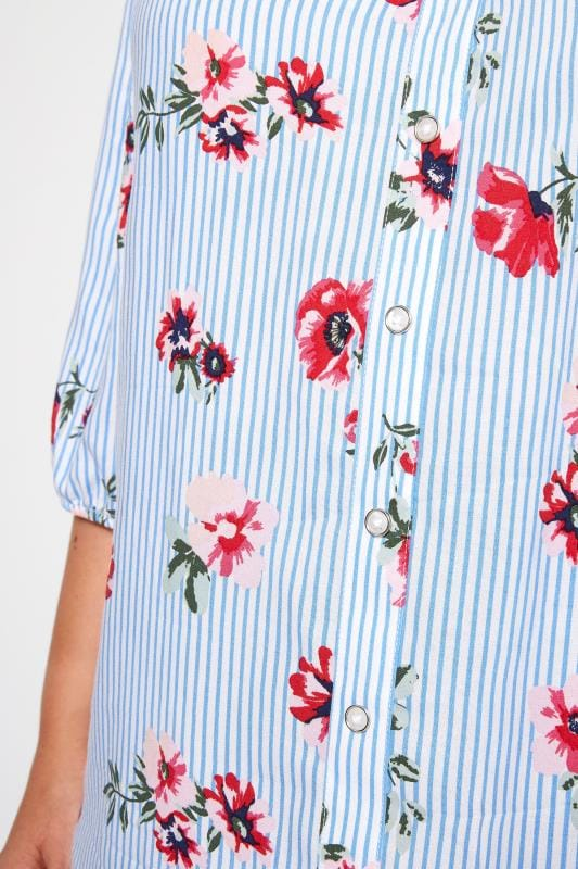 Blue Striped Floral Bardot Top