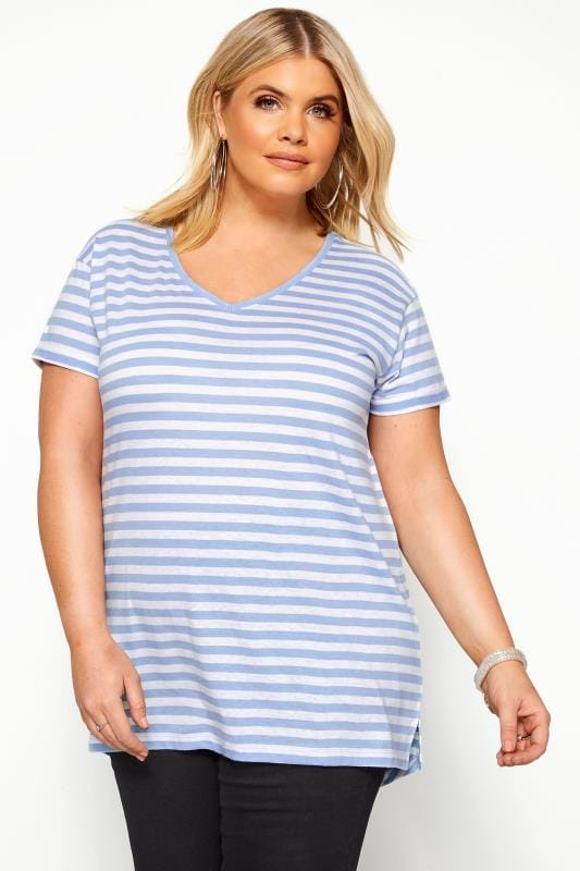 Basic T-Shirts & Vests Grande Taille Blue Striped T-Shirt