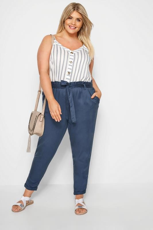Plus Size Tapered & Slim Fit Trousers Blue Tapered Trousers
